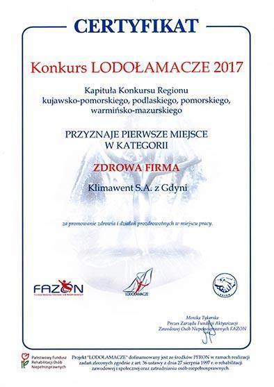 Certyfikat Lodołamacze 2017