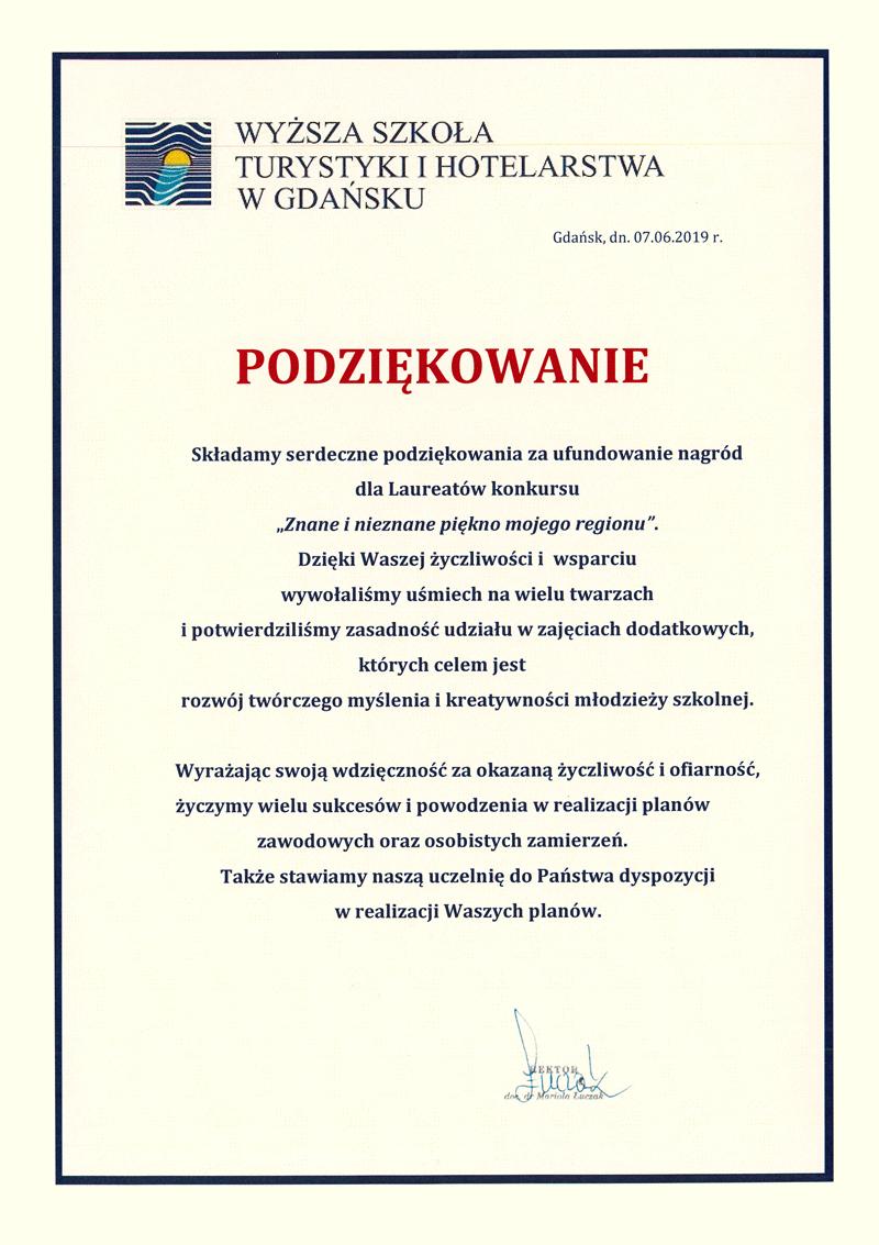 Podziękowanie: wyższa szkoła turystyki i hotelarstwa w Gdańsku