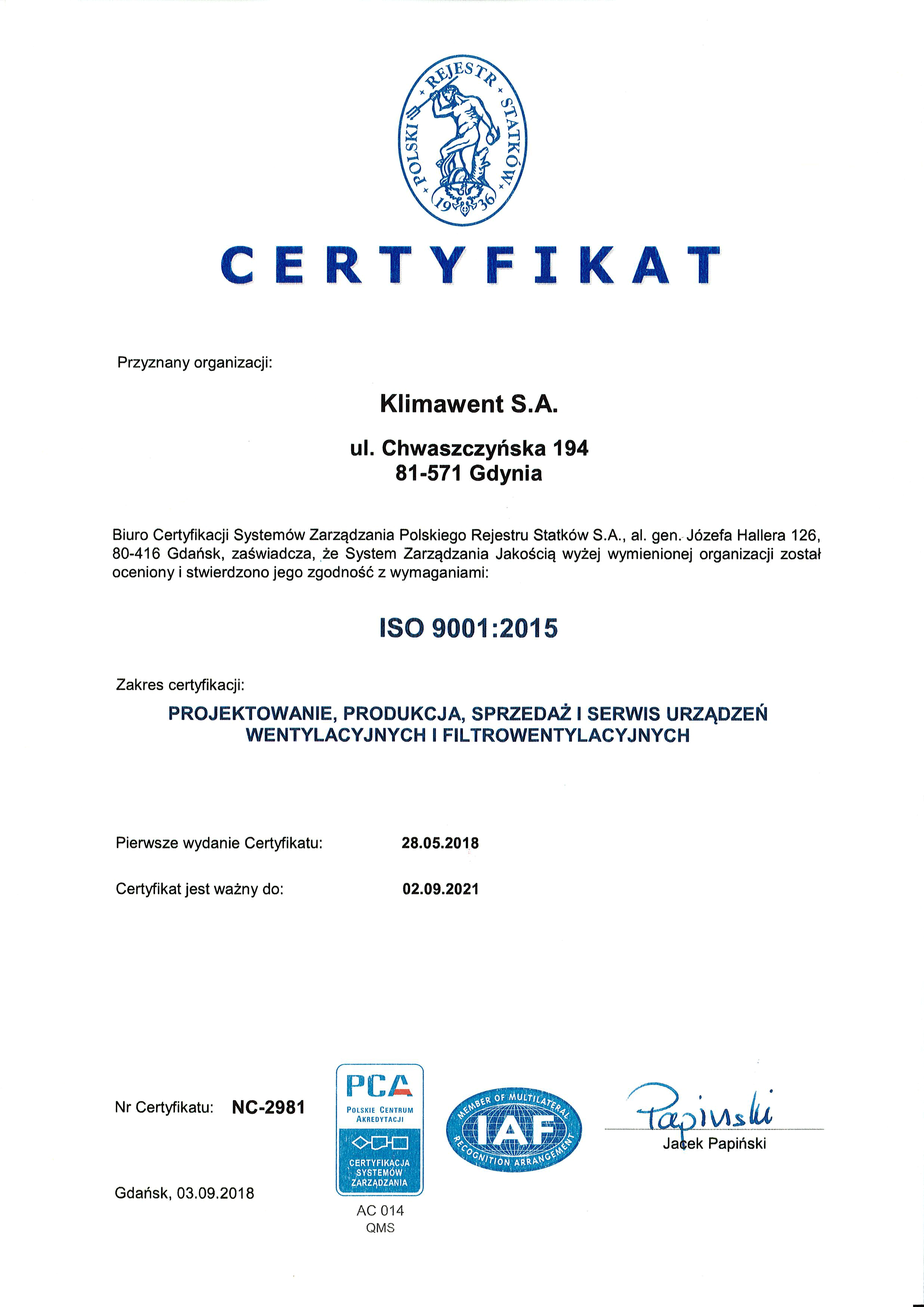 CERTYFIKAT ISO 2018