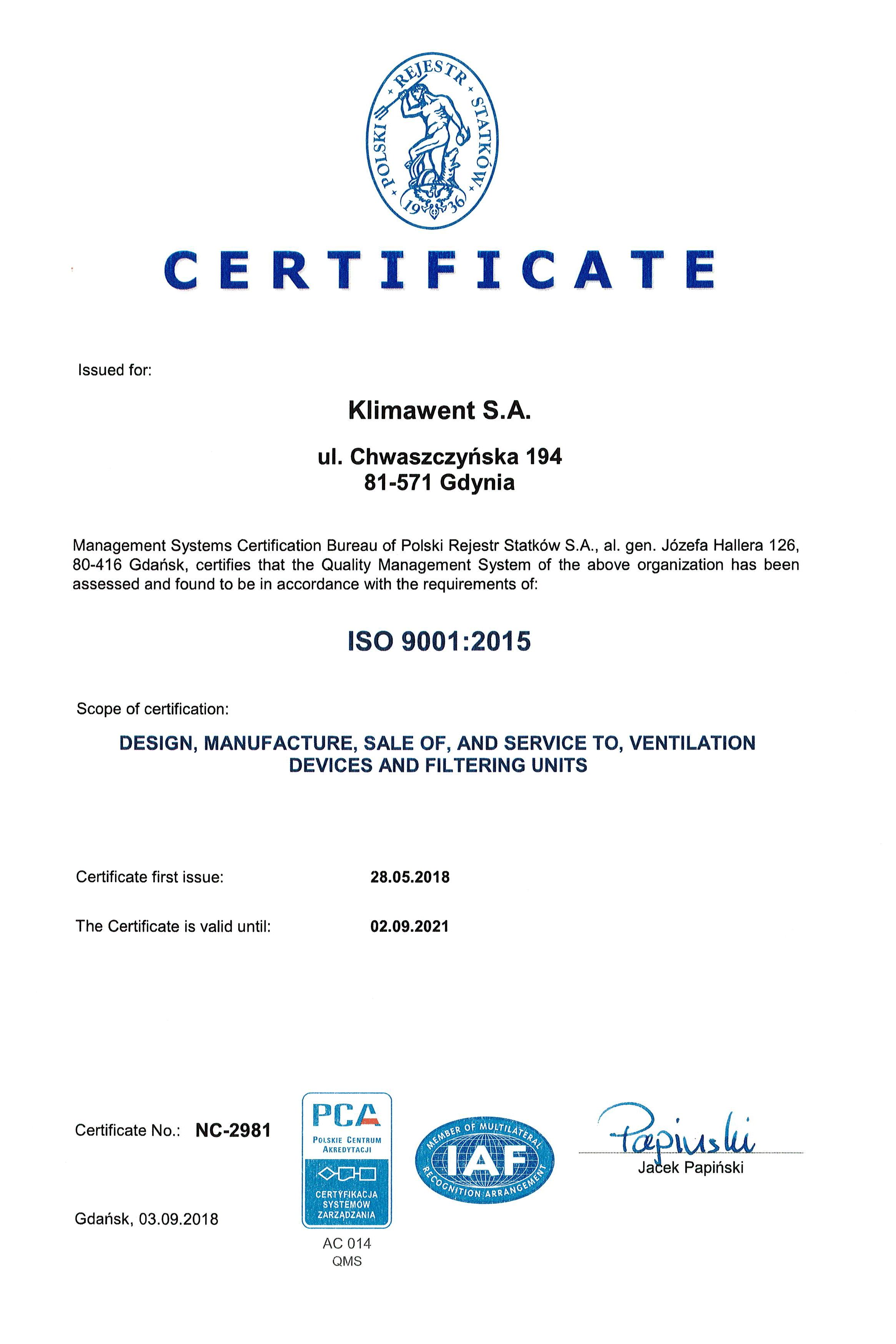 CERTYFIKAT ISO 2018 EN